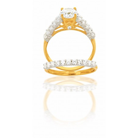 Bague Duo En Or 18 Carats Et Zirconiums
